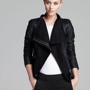 Mackage Armada Wool Trim Leather Jacket Black S